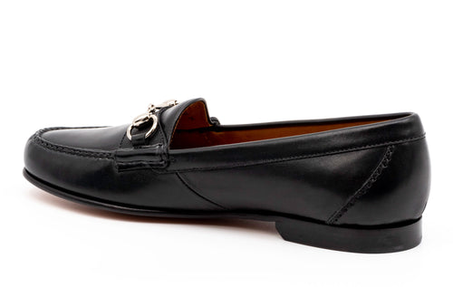 Saxon Calf Leather Horse Bit Dress Loafer - Black