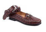 Saxon Crocodile-Grain Leather Horse Bit Dress Loafer - Chestnut