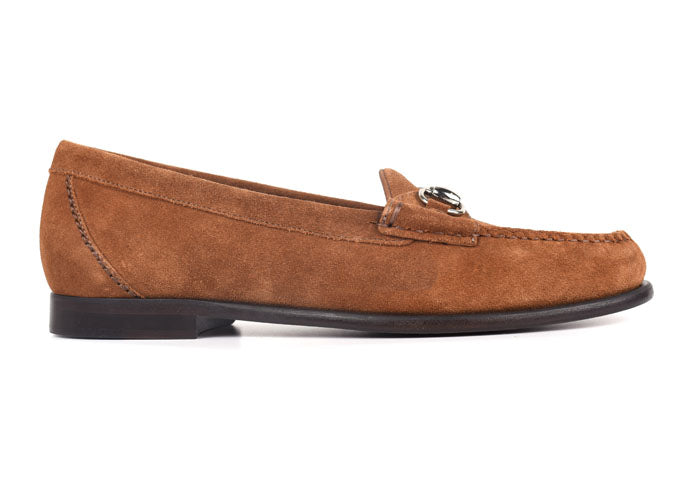 Saxon Water-Repellent Suede Horse Bit Dress Loafer - French Roast