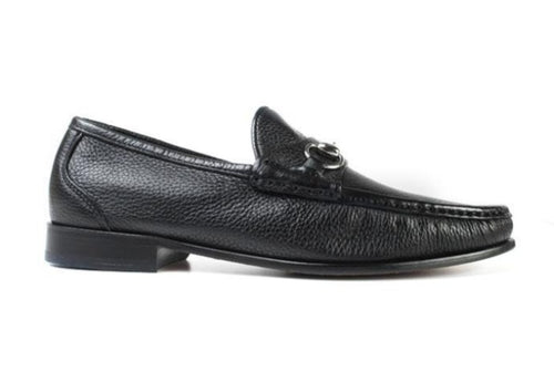 Addison Tumbled Glove Leather Horse Bit Loafer - Black