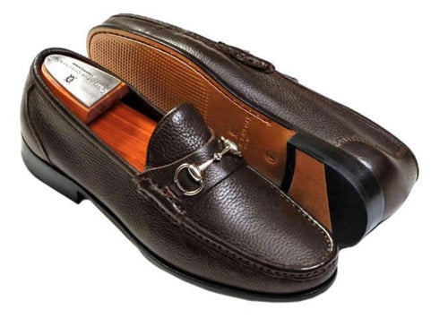 Addison Tumbled Glove Leather Horse Bit Loafer - Walnut