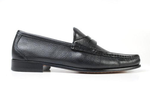 Addison Tumbled Glove Leather Penny Loafer - Black