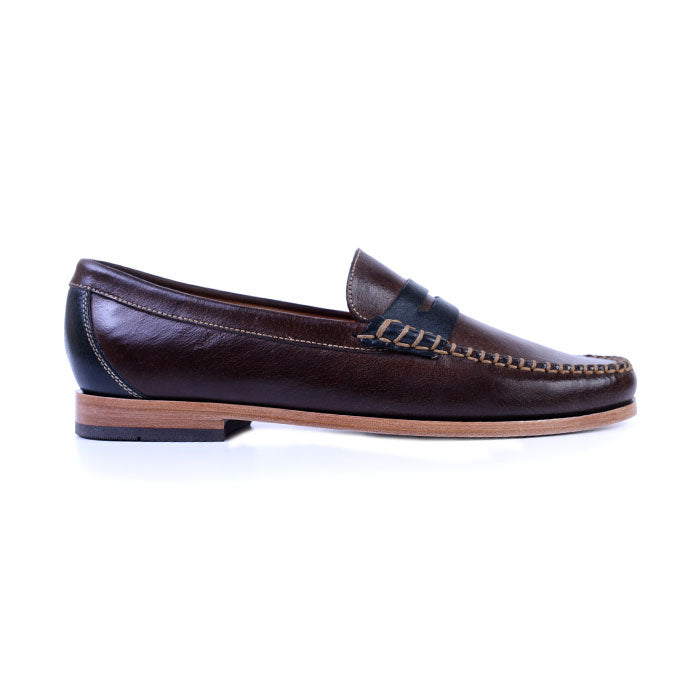 Maxwell Box Stitched Penny Loafer - Walnut
