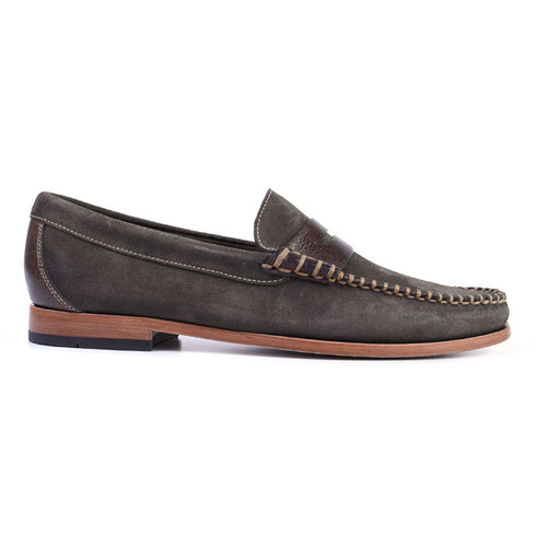 Maxwell Box Stitched Penny Loafer - Olive
