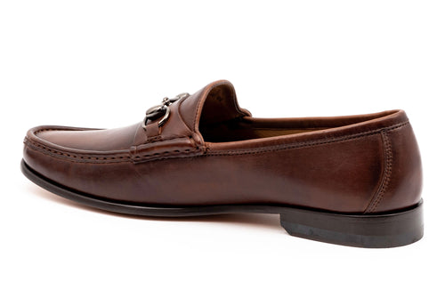 Addison Dress Calf Leather Horse Bit Loafer - Chocolate