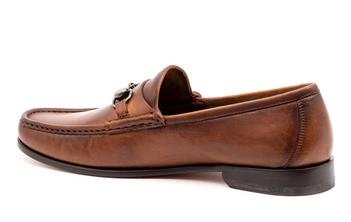 Addison Dress Calf Leather Horse Bit Loafer - Brandy