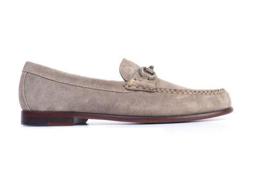 Old Row Water Repellent Suede Horse Bit Loafer - Stone