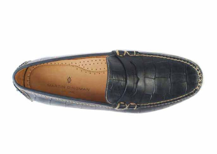 Peyton Waxy Alligator Grain Leather Driving Penny Loafer - Black