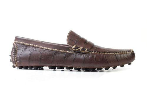 Peyton Waxy Alligator Grain Leather Driving Penny Loafer - Old Brown