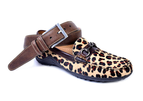 "Bill ""Hair On"" Leather Horse Bit Loafer - Leopard"