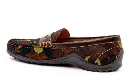 "Bill ""Hair On"" Leather Penny Loafer - Camo Print"