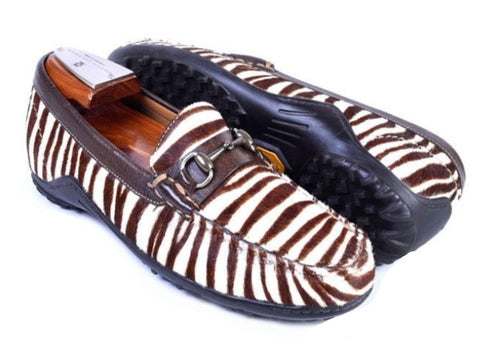 "Bill ""Hair On"" Zebra Print Leather Horse Bit Loafer"