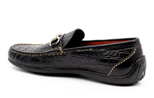 Saxon II Crocodile-Grain Leather Horse Bit Loafer - Black