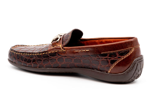 Saxon II Crocodile-Grain Leather Horse Bit Loafer - Chestnut