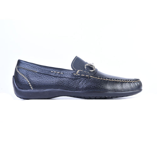 Saxon II Pebble Grain Leather Horse Bit Loafer - Black