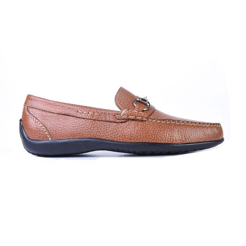 Saxon II Pebble-Grain Leather Horse Bit Loafer - Saddle Tan
