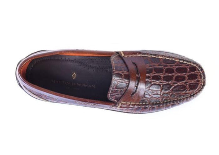 Saxon II Crocodile Grain Leather Penny Loafer - Chestnut