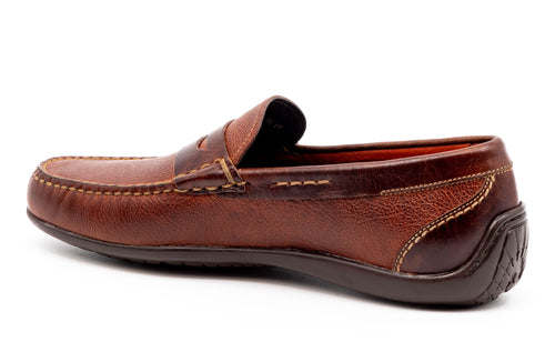 Saxon II Scotch-Grain Leather Penny Loafer - Luggage