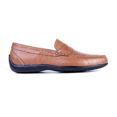 Saxon II Pebble Grain Leather Penny Loafer - Saddle Tan