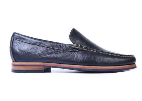 Montgomery Pebble Grain Leather Venetian Loafer - Black