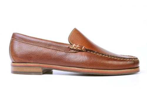 Montgomery Pebble Grain Leather Venetian Loafer - Oak