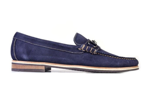 Montgomery Water Repellent Suede Horse Bit Loafer - Navy
