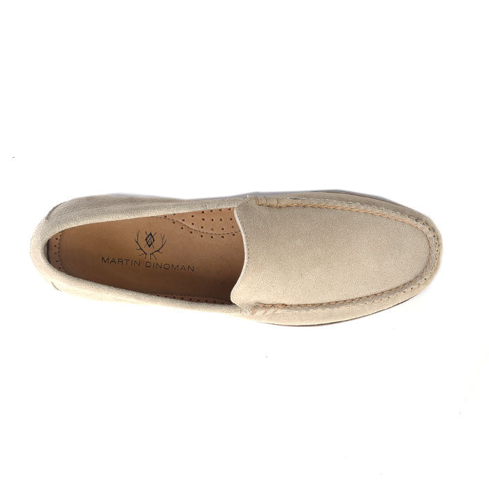 Montgomery Water-Repellent Suede Venetian Loafer - Bone