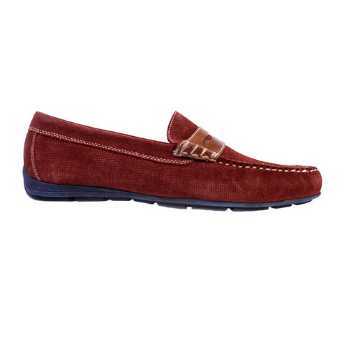 Royal Micro Print Suede Penny Loafer - Chili