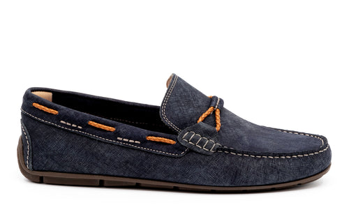 Bermuda Denim Nubuck Braided Leather Bit and Collar Lacing Loafer - Navy