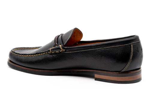 Montgomery Pebble-Grain Leather Braided Knot Loafer - Black