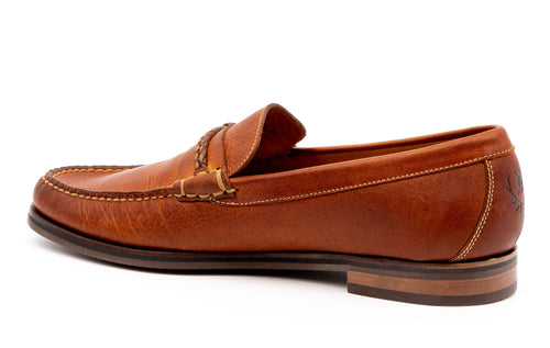 Montgomery Oiled Saddle Leather Braided Knot Loafer - Chestnut