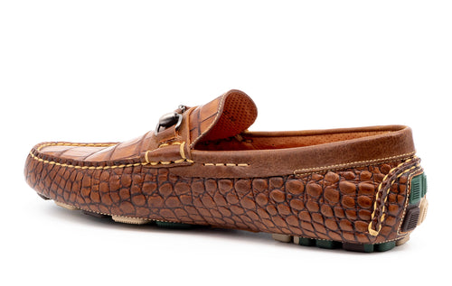 Monte Carlo Alligator-Grain Leather Horse Bit Loafer - Chestnut