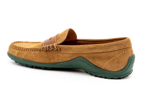 Bill Water-Repellent Suede Penny Loafer - Khaki
