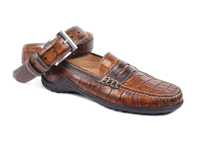 Bill Alligator-Grain Leather Penny Loafer - Chestnut