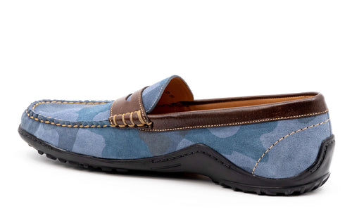Bill Water-Repellent Suede Penny Loafer - Blue Camo