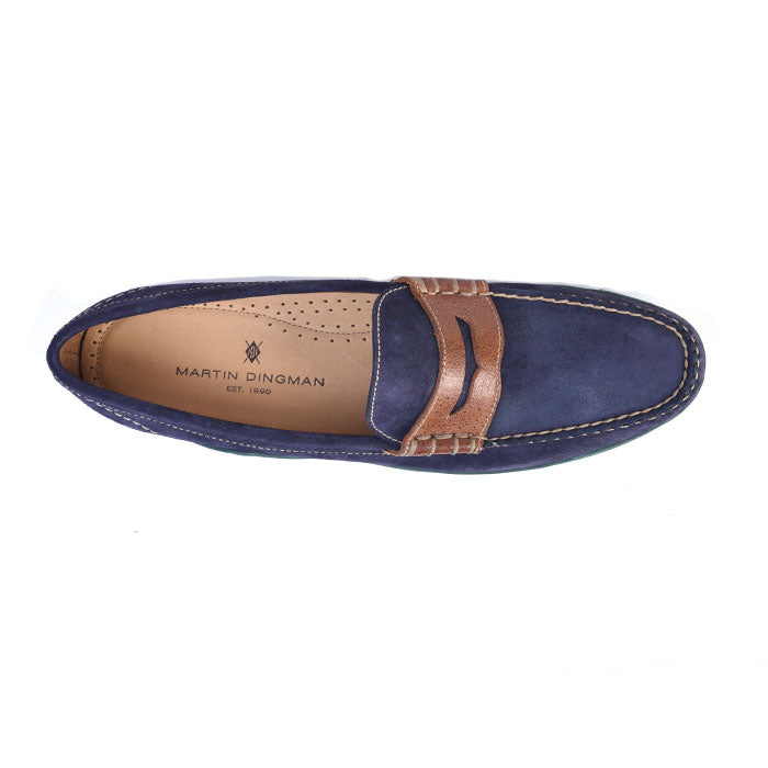 Bill Water Repellent Suede Penny Loafer - Navy Green