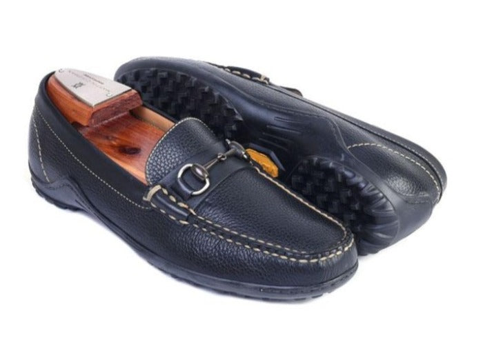 Bill Tumbled Glove Leather Horse Bit Loafer - Black