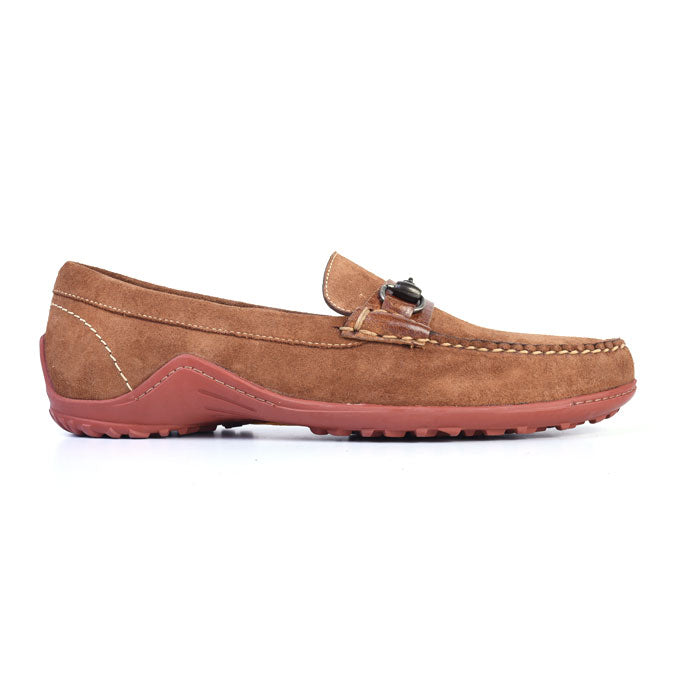 Bill Water Repellent Suede Horse Bit Loafer - Tobacco