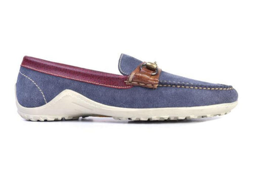 Bill Water-Repellent Suede Horse Bit Loafer - Royal