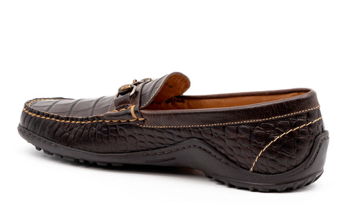 Bill Alligator-Grain Leather Horse Bit Loafer - Walnut