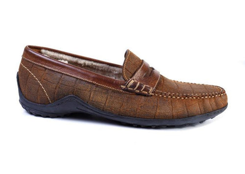 Bill Alligator Grain Suede Leather Penny Loafer - Cedar
