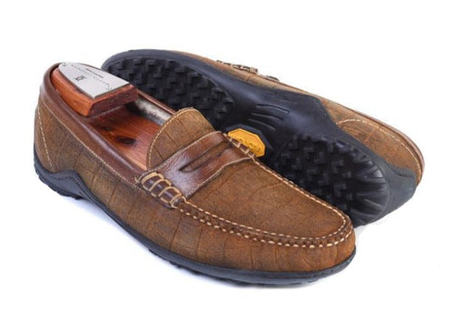 Bill Alligator Grain Suede Penny Loafer - Cedar