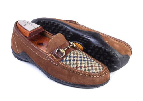 Bill Houndstooth & Suede Horse Bit Loafer - Tobacco
