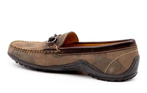 Bill Water-Repellent Suede Horse Bit Loafer - Camo