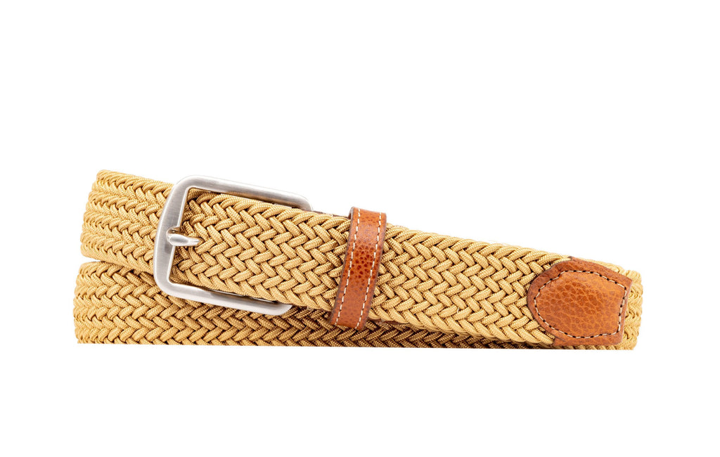 Newport Woven Italian Stretch Belt - Khaki