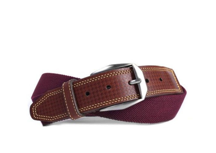 Berwick Cotton Houndstooth Bridle Leather Tab Belt - Burgundy