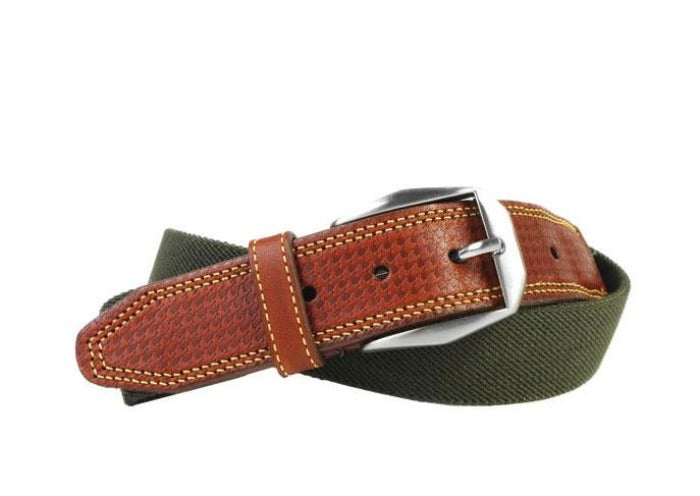 Berwick Cotton Houndstooth Bridle Leather Tab Belt - Olive