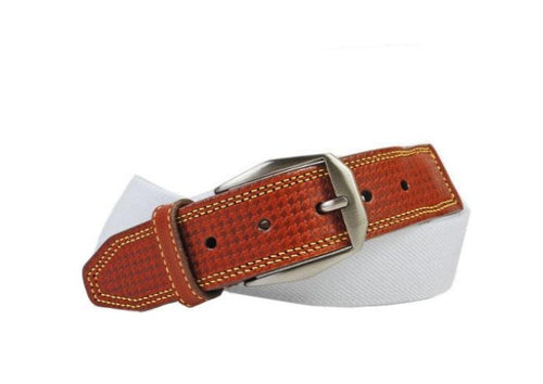 Berwick Cotton Houndstooth Bridle Leather Tab Belt - White