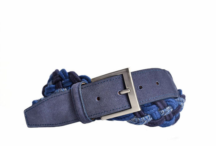 Mason Braided Italian Wool Belt - Navy