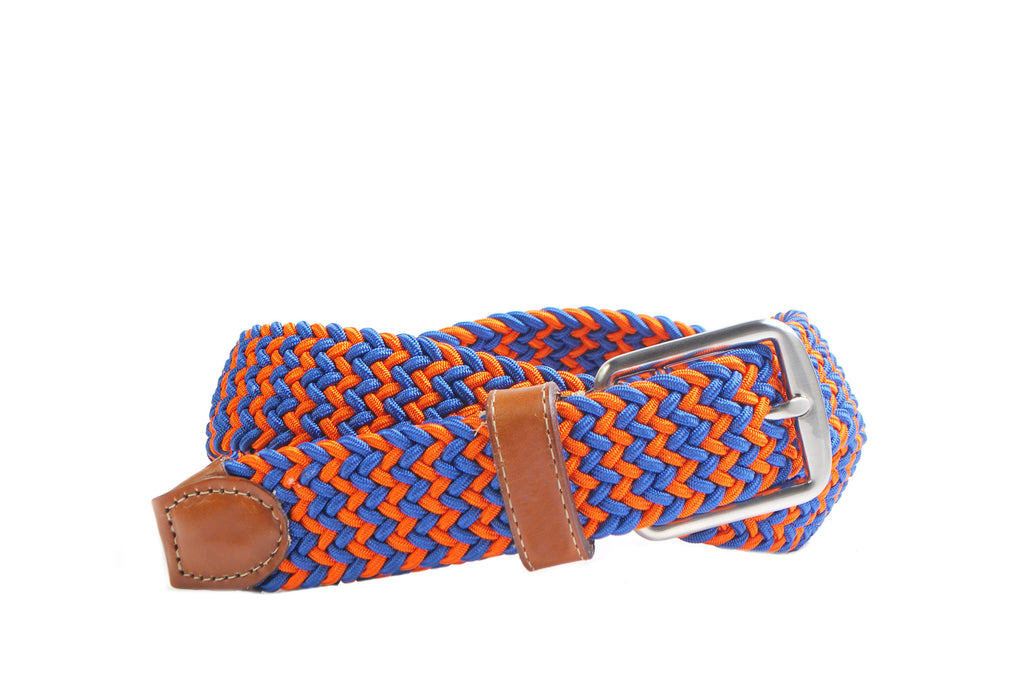 Gainesville Italian Woven Rayon Elastic Belt - Blue/Orange